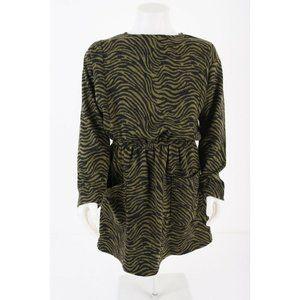 Zara Girls Knit Dress Sz 11-12 152 Cm Green Zebra